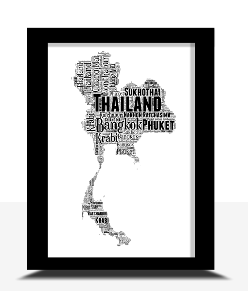 Personalised Thailand Word Art Map Travel