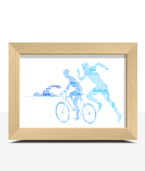 Personalised Triathlon Word Art Gift Gifts For Him