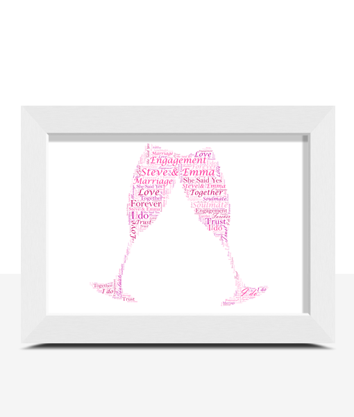 Personalised Champagne Flutes Word Art Anniversary Gifts