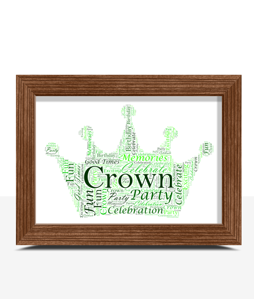 Personalised Crown Word Art Baby Shower Gifts