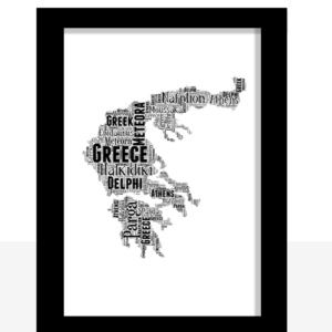 Personalised Greece Mainland Word Art Map Travel