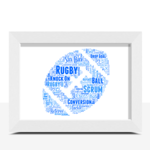 Personalised Rugby Ball Word Art – Rugby Player Gift Fathers Day Gifts