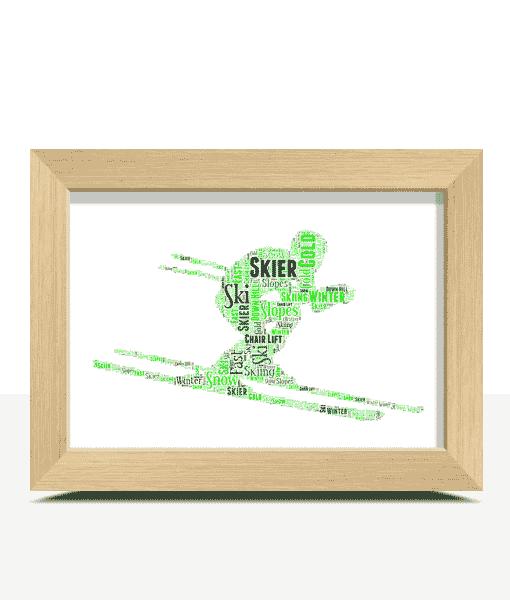 Personalised Skier Word Art Sport