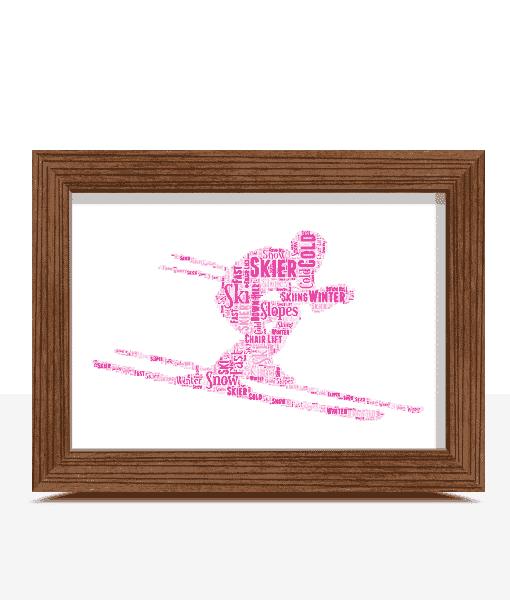 Personalised Skier Word Art Gift Sport