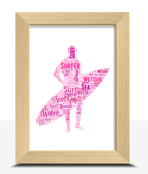 Personalised Male Surfer Word Art Gift Sport Gifts