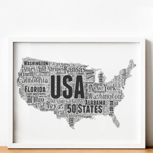 Personalised USA Word Art Map Travel