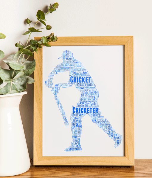 Personalised Cricket Player Word Art Gift Sport