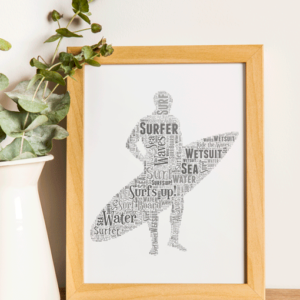 Personalised Surfer Word Art Gift Sport