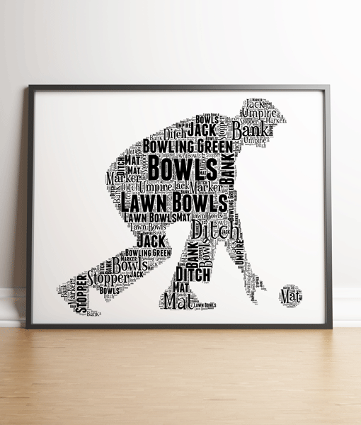 Male Bowls Player Word Art Gift Print Gifts For Dad