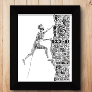 Male Rock Climber Word Art Gift Sport