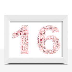 Personalised 16th Birthday Word Art Gift Birthday Gifts