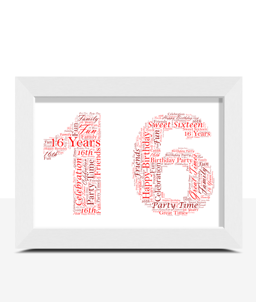 Personalised 16th Birthday Word Art Gift Birthday Gifts