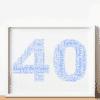 40th Birthday – Anniversary Word Art Gift Anniversary Gifts