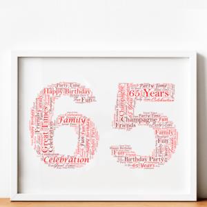 Personalised 65th Birthday Word Art Gift Birthday Gifts