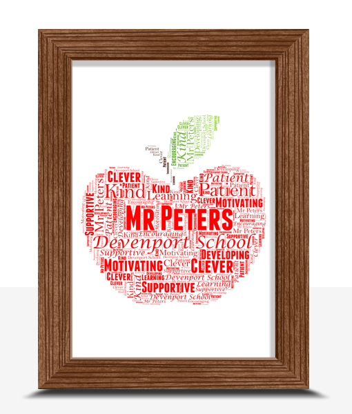 Apple Word Art | Personalised Teacher Gift Food And Drink
