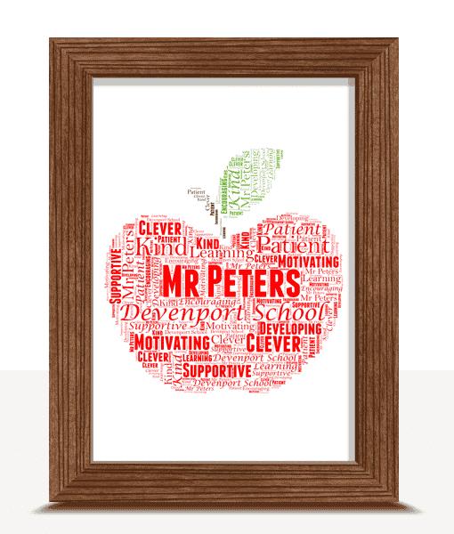 Apple Word Art | Personalised Teacher Gift Food And Drink