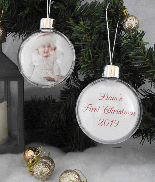 Christmas Photo Bauble With Personalised Message Christmas