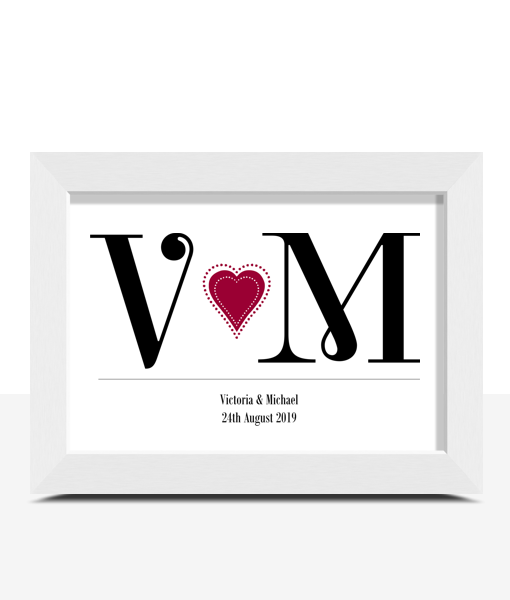 Personalised Couples Initials Print Anniversary Gifts