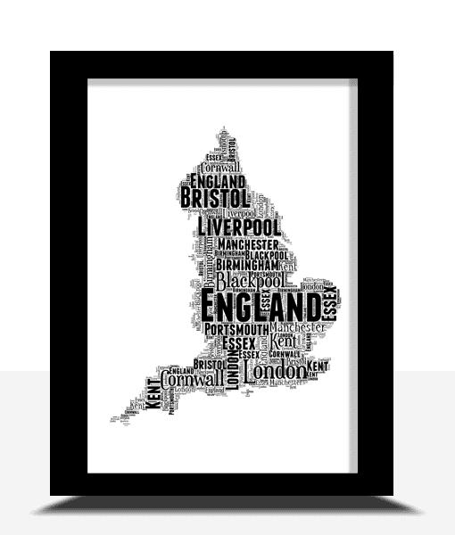 Personalised England Word Art Travel