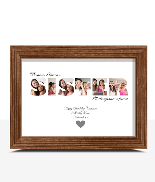 Personalised SISTER Photo Gift Gifts For Her