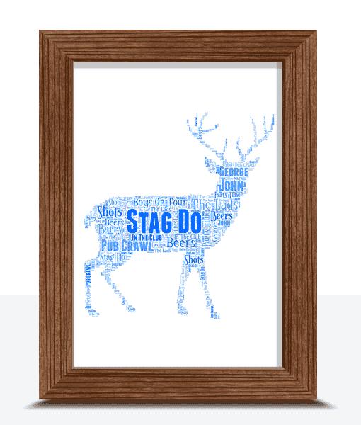 Personalised Stag Night Word Art Gift Animal Prints