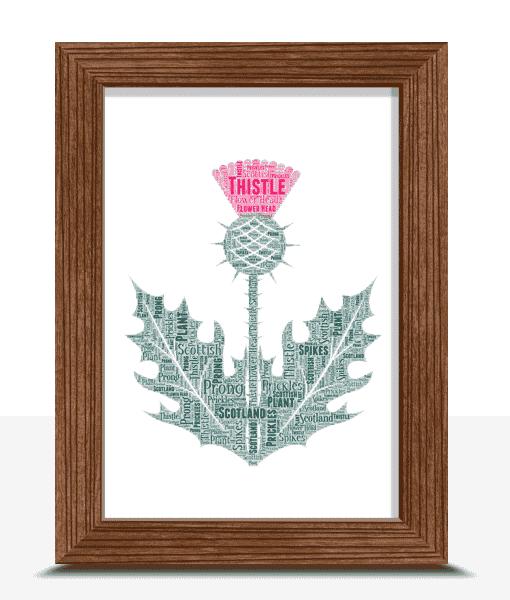 Personalised Scottish Thistle Word Art Print Travel