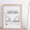 Personalised Campervan – Front View – Word Art Print Travel