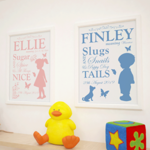 Childs Name Meaning – Personalised Nursery Print Baby Shower Gifts