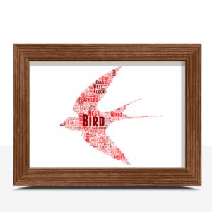 Personalised Flying Bird Word Art Print Animal Prints