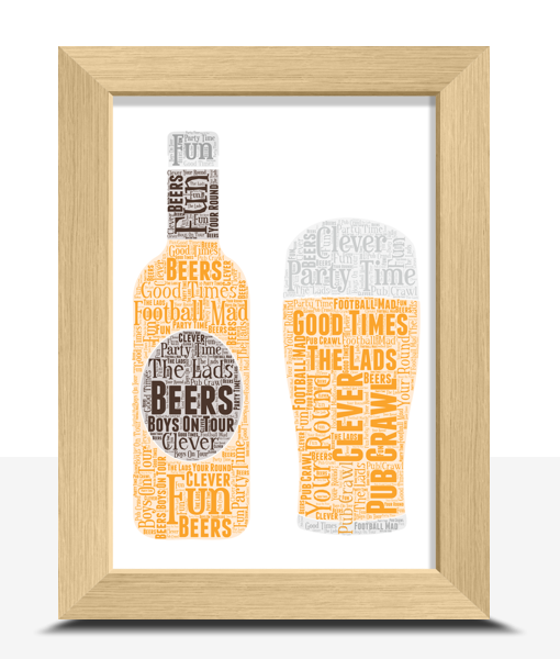 Personalised Beer Bottle – Pint Glass Word Art Fathers Day Gifts