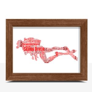 Personalised Scuba Diver Word Art Print Sport