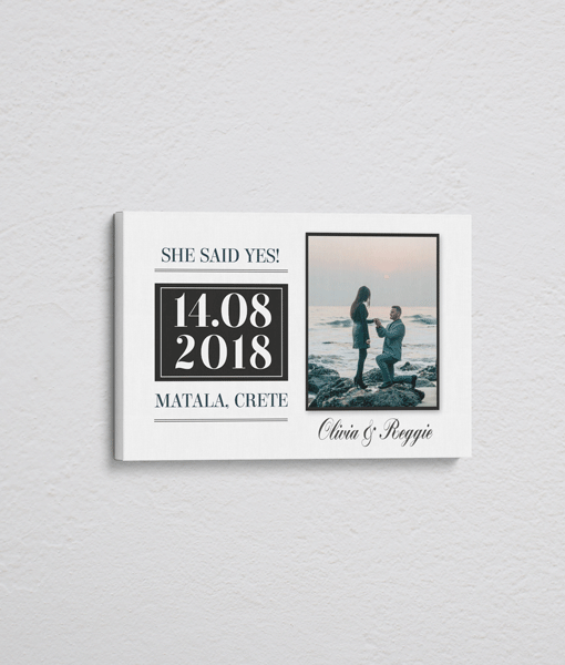 """""""She Said Yes!"""" Personalised Engagement Gift – On Canvas Engagement Gifts"""