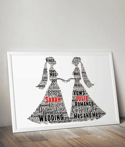 Gay Female Wedding Couple Gift Word Art Wedding Gifts