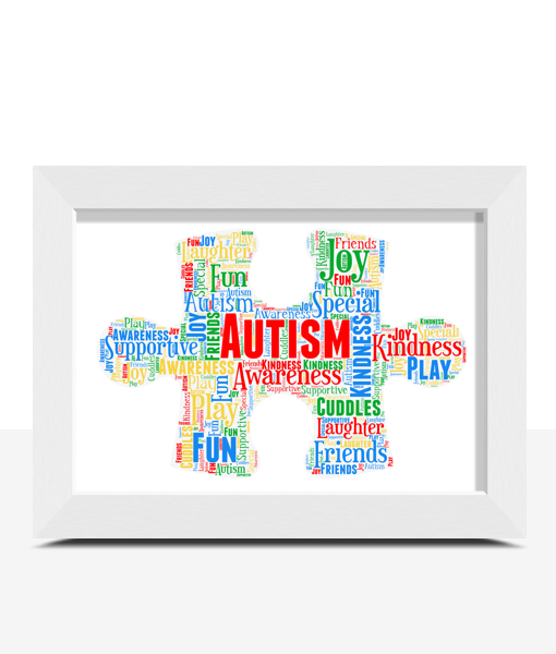 Personalised Autism Jigsaw Piece Word Art Teacher Gifts