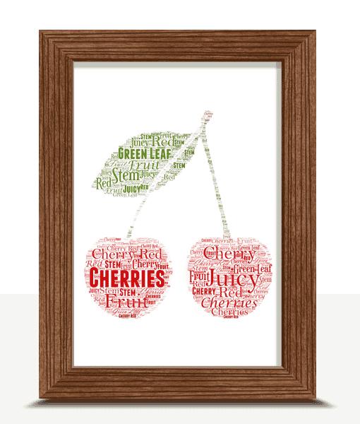 Personalised Cherries Word Art Print Food And Drink