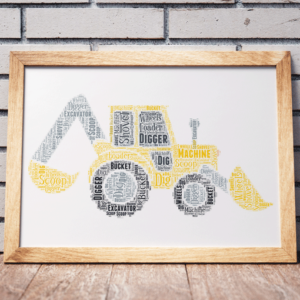 Personalised Digger Word Art Print Gifts For Children
