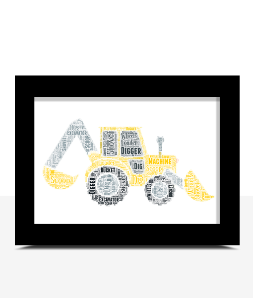 Personalised Digger Print/ Excavator Word Art Print Gifts For Children
