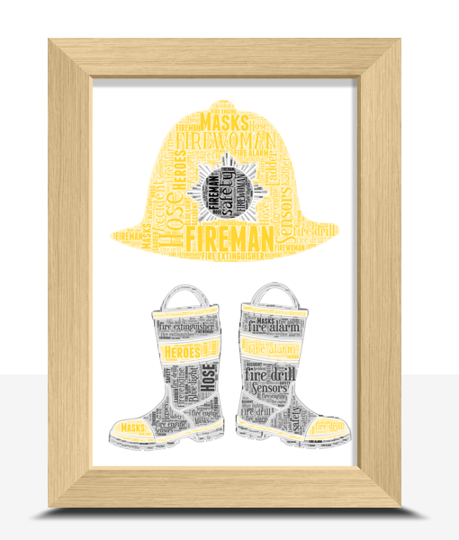Personalised Fireman Boots Word Art Gift