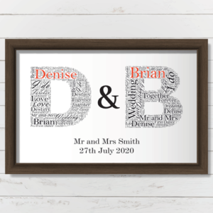 Couples Initials Word Art – Personalised Wedding Anniversary Gift Engagement Gifts
