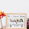 No 1 Great NANA Personalised Photo Gift Gifts For Grandparents