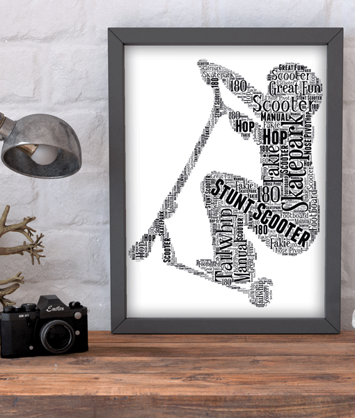 Stunt Scooter Word Art Print Gifts For Children