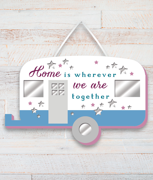 Caravan Home Wooden Plaque Family