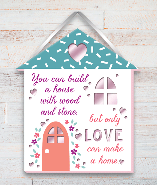 Home Built With Love Wooden Plaque New Home
