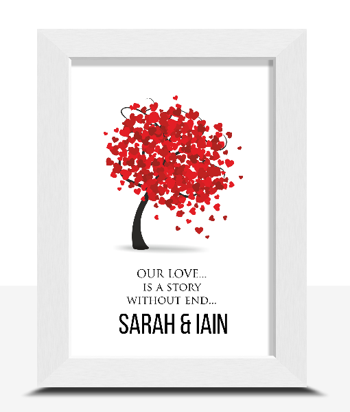 Personalised Love Tree Typography Print Anniversary Gifts