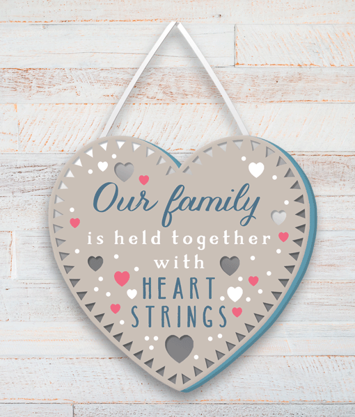 Our Family is held together with heart strings – Wooden Plaque Family