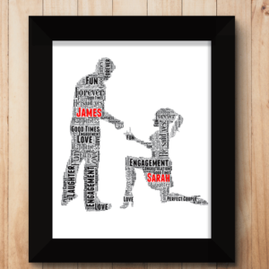 Woman Proposal Personalised Word Art Engagement Gift Engagement Gifts