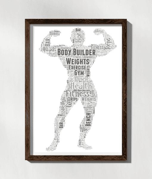 Personalised Body Builder Word Art Gift Sport