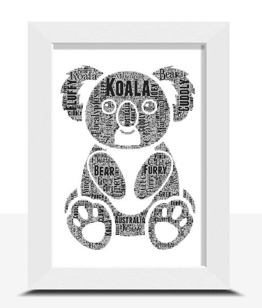 Koala Word Art Print Animal Prints