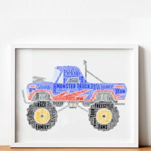 Monster Truck Word Art Print Gifts For Children