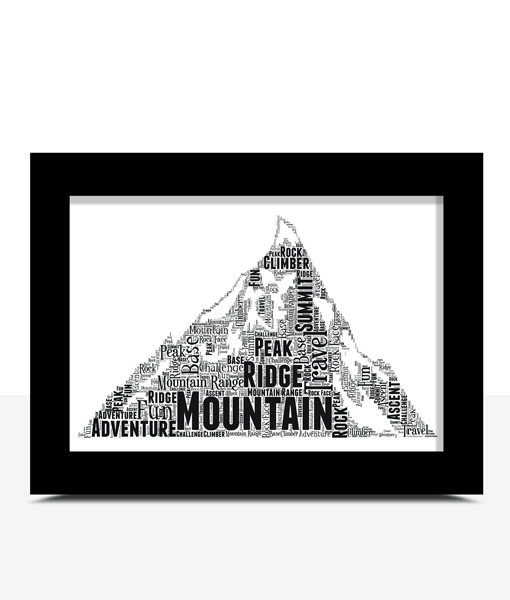 Personalised Mountain Word Art Print Sport